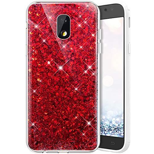QPOLLY Glitzer Hülle Kompatibel mit Samsung Galaxy J3 2017,Kristall Glänzend Strass Diamant Silikon Schutzhülle Crystal Clear TPU Silikon Handytasche Handyhülle Case für Galaxy J330,Rot