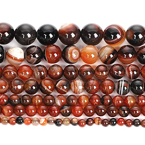 Piedra natural marrón ágata raya encanto redondo cuentas sueltas para hacer joyas costura pulsera DIY Strand 4-12 MM H7362 6mm aproximadamente 63pcs