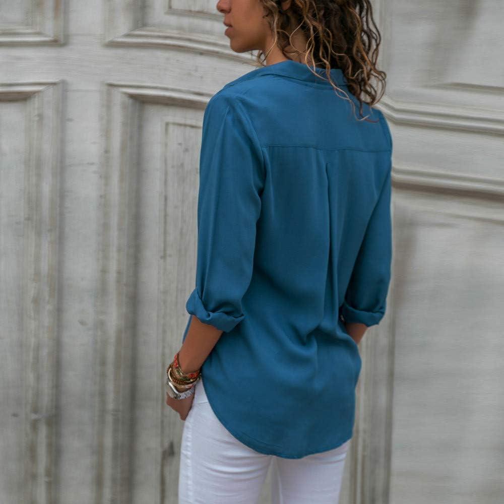 HIRIRI Women's Pure Color Casual Blouse Turndown Lapel Button Up
