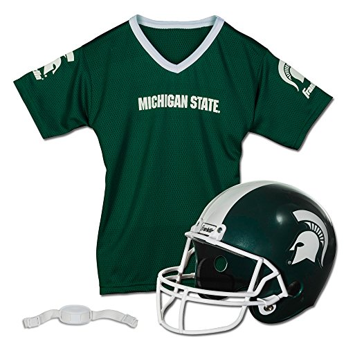 Franklin Sports Michighan State Sparatans Kids College Football Uniform Set - NCAA Youth Football Uniform Costume - Helmet, Jersey, Chinstrap - Youth M