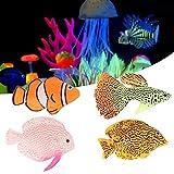 Befitery 4 peces artificiales para acuario, peces falsos tropicales, decoración de peces, de plástico, peces flotantes, peces realistas