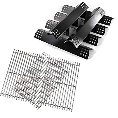 Grill Valueparts Flame Tamer + Stainless Steel Grates for Nexgrill 720-0896B Deluxe 6 Burner 720-0896 720-0898 720-0896C 720-0896E 720-0896BX