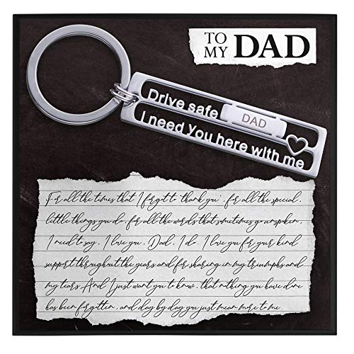 Dad Gifts for Dad Present for Father from Kids to Dad Birthday Gifts Keychain Gift with Sentiment