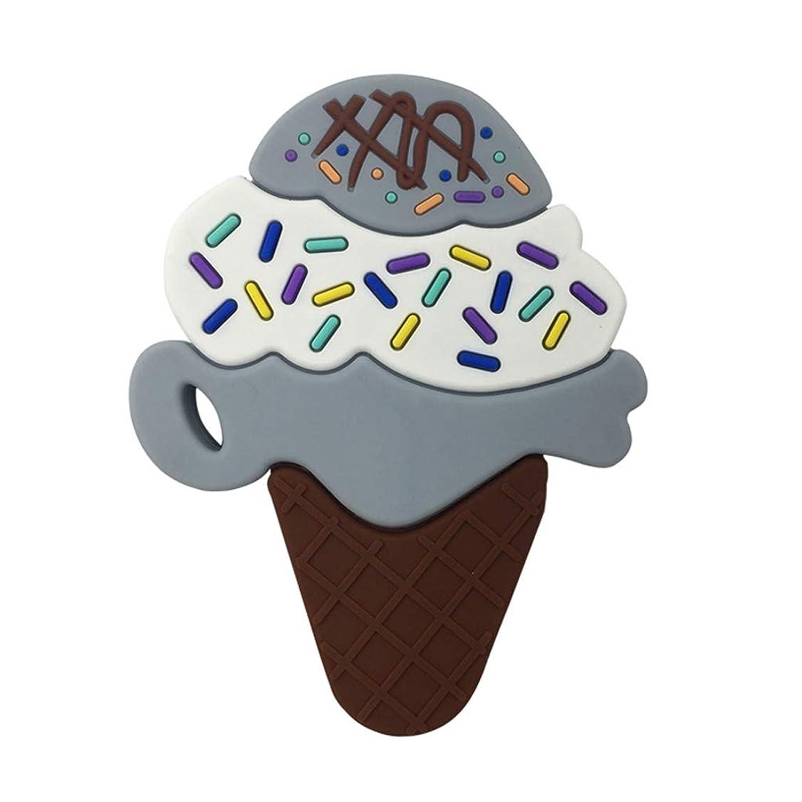 アンカー粗い説得力のあるLanddumシリコーンおしゃぶり3層アイスクリームおしゃぶり赤ちゃんの授乳玩具チューイング玩具ガラガラ玩具 - グレー