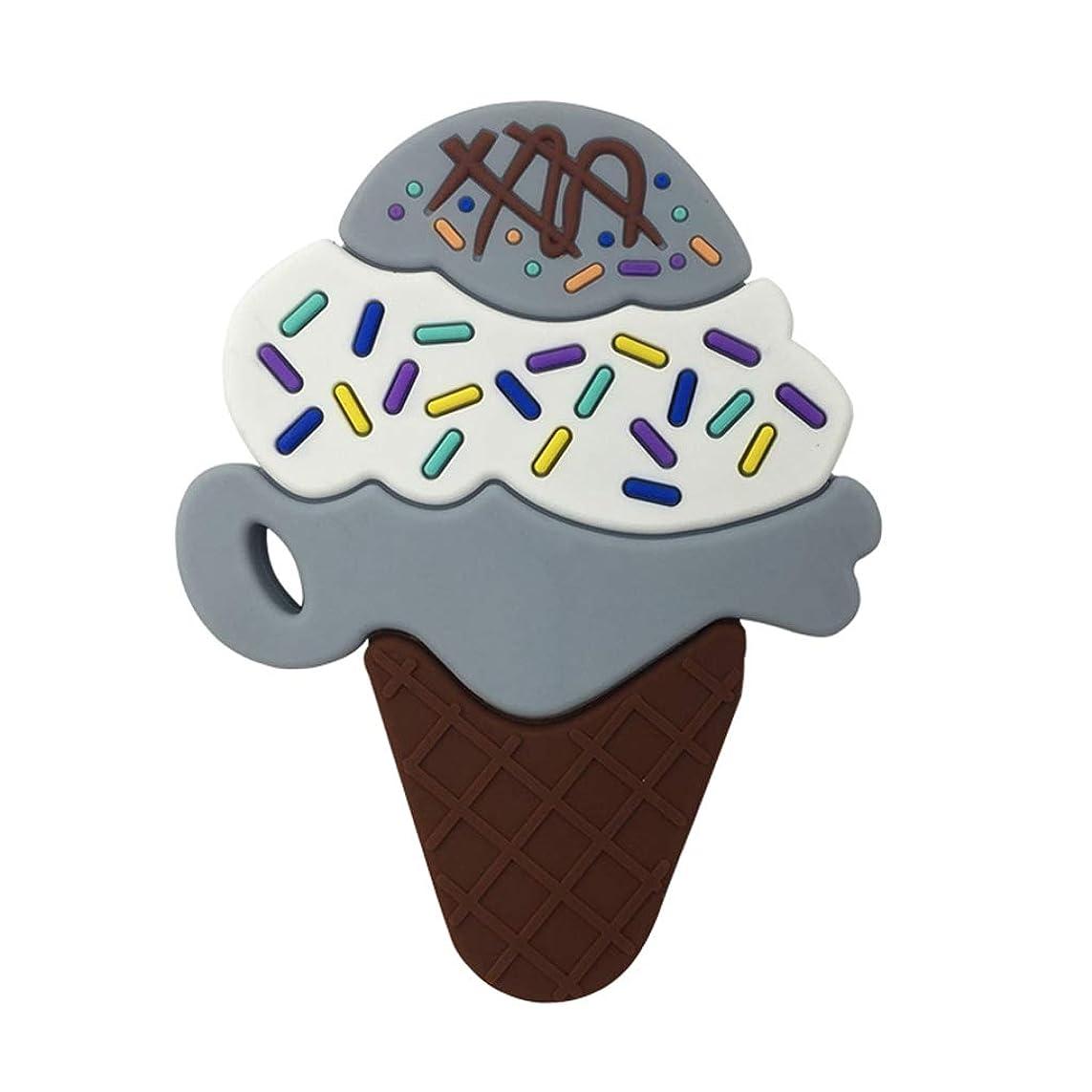 トースト効果食欲Landdumシリコーンおしゃぶり3層アイスクリームおしゃぶり赤ちゃんの授乳玩具チューイング玩具ガラガラ玩具 - グレー