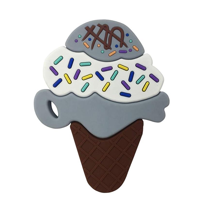 反逆ひばり図書館Landdumシリコーンおしゃぶり3層アイスクリームおしゃぶり赤ちゃんの授乳玩具チューイング玩具ガラガラ玩具 - グレー
