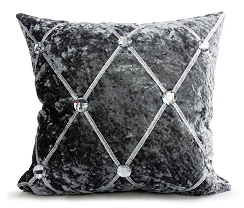 Crushed Velvet Diamante Chesterfield Cushions Set of 4 FILLED Cushions 17'x17' | SILVER