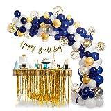 Balloon Arch Kit Garland Decorations - 94 pcs Latex Gold Confetti White Navy Blue Balloons 16ft, Baby Shower Birthday Wedding Graduation Anniversary Bachelorette Party Supplies DIY Centerpiece Decor