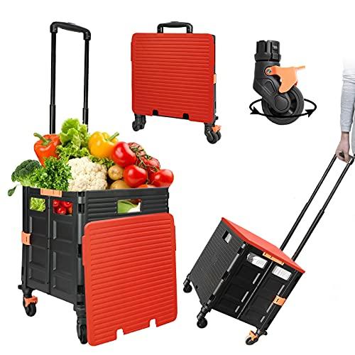 Einkaufstrolley Klappbar, Einkaufswagen Kunststoff Faltbar, Transport Trolley, bis 50 kg, Einkaufskorb mit Deckel, Ausziehbarer Alu Ausziehgriff , Mit Universal-Mute- 8 rädern, Rot