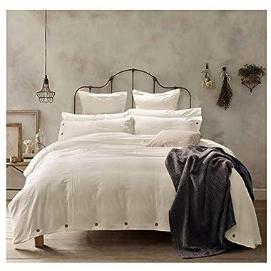 Doffapd Duvet Cover King, Washed Cotton Duvet Cover Set - 3 Piece (King, Off-White)