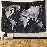 Amkun - Tapiz para colgar en la pared, diseño de mapa del mundo, de mandala, bohemio, retro, decoración para el hogar, toalla de playa, tapete de yoga, negro, 59.1'× 78.7'