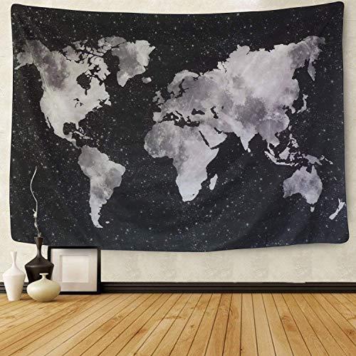 Amkun Wandteppich mit aufgedruckter Weltkarte im Vintage-Stil, Mandala, Bohemian-Karte, Retro-Stil, Heimdeko, Strandtuch, Yogamatte, Schwarz , 59.1