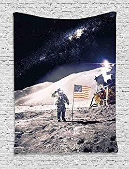 Ambesonne Space Tapestry Astronaut on Moon with American Flag Invasion Rocket Cosmonaut Mission Photo Print Wall Hanging for Bedroom Living Room Dorm Decor 40  X 60  Taupe Blue