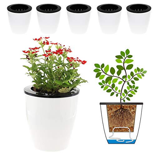 DELF 6 Pack 4.7 Inches Self Watering...