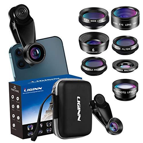 LIGINN 7 in 1 Phone Camera Lens Kit Wide Angle Lens & Macro +Fisheye Lens +2X Telephoto Zoom Lens+Kaleidoscope/CPL+ND Radial Filter for iPhone Smartphones/Pixel/Samsung/Android Phones Camera
