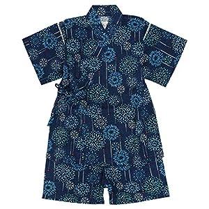 甚平 ベビー 男の子 綿100% 日本製生地 じんべい スーツ上下 祭 子供甚平 花火/紺-9145 95cm