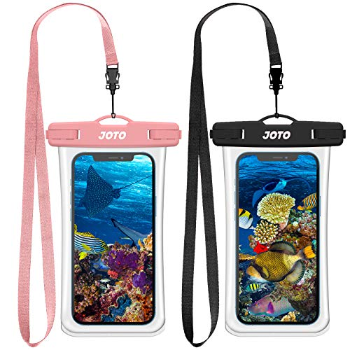 JOTO 2 uds. Funda Impermeable Móvil IPX8 Universal, Bolsa Estanca Móvil para iPhone 12 Pro MAX 11 Pro MAX XS MAX XR X 8 7 6S, Galaxy Note 20 S20 Huawei Xiaomi Redmi hasta 7' Diagonal -Negro y Rosa