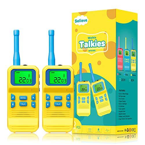 Selieve Spielzeug ab 3-8 Jahren Junge, Kinder Walkie Talkie Funkgerät mit 3KM Reichweite 8 Kanal LCD-Taschenlampe Outdoor Indoor Kinder Spielzeug,Geschenk für Kinder 3-12 Jährige Jungs und Mädchen