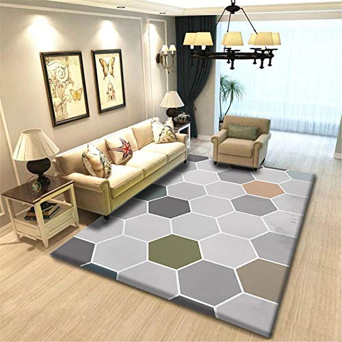 DJHWWD Teppich Esstisch Teppich grau Sechseck geometrisches Muster schönen Teppich rutschfest weich Teppich Jugendzimmer Babyzimmer Teppich Junge grau 160 x 230 cm