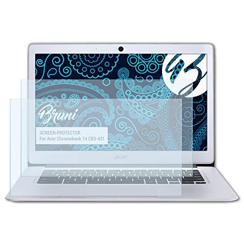Bruni Schutzfolie kompatibel mit Acer Chromebook 14 CB3-431 Folie, glasklare Bildschirmschutzfolie (2X)
