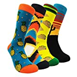Funny Mens Colorful Dress Socks - HSELL Fun Novelty Cactus Patterned Crazy Design Crew Socks (Cactus 4 Pack)