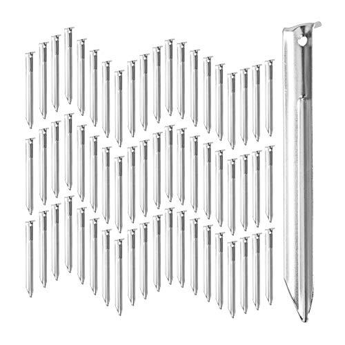 Relaxdays, Stahl, Silber Zeltheringe 20er Set, V-förmig, stabil, mit Öse, Widerhaken, 18 cm Hering für Zeltbefestigung