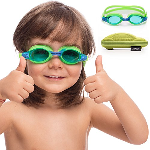 Kids Swim Goggles | Swimming Goggles for Kids Age 2-8 with Fun Car Hardcase (Green)