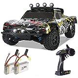 DBXMFZW 1/18 Scale Off-Road Control Remoto Control Coche, 2.4G Vehículo RC de Escalada inalámbrico 4WD, automóvil RC de 40 km/h, con Luces LED, 2 baterías Pueden Jugar Durante 40 Minutos, Regalos pa