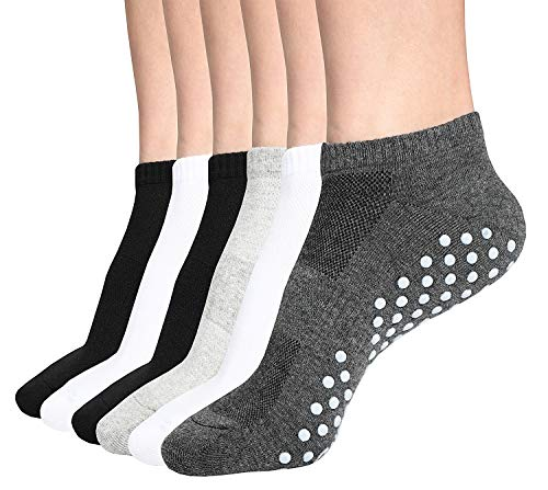 Grip Socks, 6 Pairs Non Slip Anti Skid Socks for...