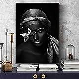 TYLPK Nordic Canvas Print Picture Decoración del hogar Mujer Africana Mariposa Pintura Creativa Mural A2 40x50cm