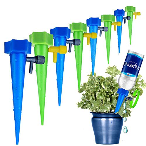 MANGOIT Self Plant Watering Spikes 12 Pack Auto Drippers Irrigation Devices Vacation Automatic Plants Water System with Adjustable Control Valve Switch Design for Houseplant, Gardenplant, Officeplant