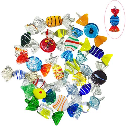 Iceyon 20pcs Vintage Murano Glass Candy Ornaments Cute Sweets for Wedding Christmas Party Decoration Gift