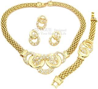 Gomo African design in metallo placcato oro 18K gioielli set collana + orecchini + braccialetto + anello nuziale di crist...