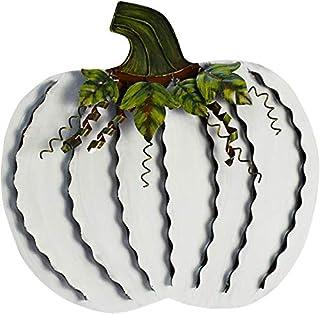 زينة معدنية على شكل قرع معدني مسطح للمنزل قائم بذاته لتزيين حصاد الخريف وعيد الشكر وديكور خارجي - (أبيض، 18 بوصة ارتفاعًا)