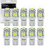 Safego 10x T10 W5W LED Bombillas exteriores 5 SMD 5050 Luz Coche trasera Lámpara Blanco Xenon Luz de interior 194 168 T10 Wedge...