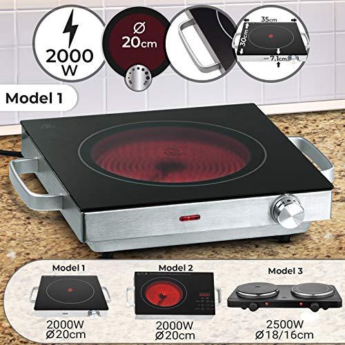 Infrarot Kochplatte - Elektrisch, 2000 W, Ø 20 cm, Überhitzungsschutz, Stufenlose Temperaturregulierung, aus Glaskeramik und Edelstahl - Kochfeld, Einzelkochplatte, Herdplatte, Minikochplatte