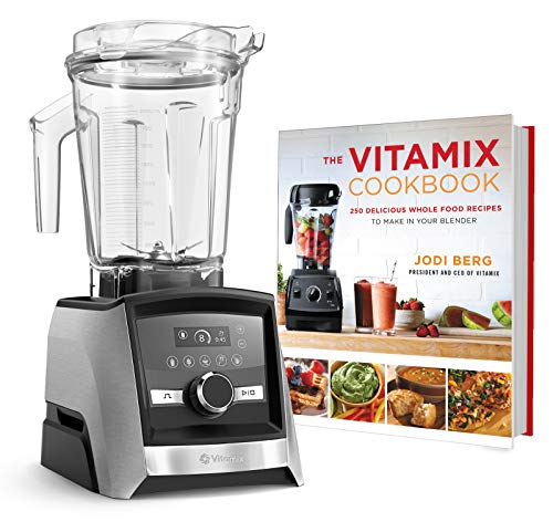 Vitamix A3500 Ascent Series Smart Blender, Professional-Grade, 64 oz. Low-Profile Container Bundle with The Vitamix Cookbook - 250 Delicious Whole Food Recipes (Brushed Stainless)