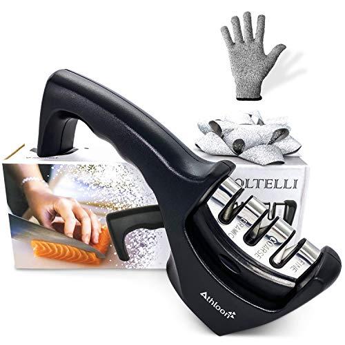 Athloon Affilacoltelli Professionale - Affila Coltelli da Cucina - Incluso Guanto Antitaglio