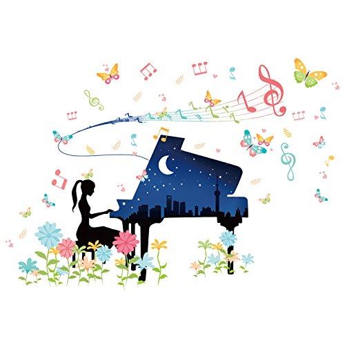 BB.er Klavier Mädchen Wandaufkleber Kindergarten Klassenzimmer Dekoration Aufkleber, 113 × 78 cm