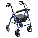 Health Line Massage Products Aluminum Folding Mobility Rollator Walker with 8 Inch Wheels for Seniors, Paded Seat and Backrest, Blue