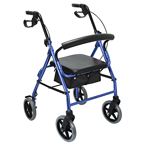 8' Large Wheels Aluminum Rollator Walker with Paded Seat and Backrest, Fits People Upto 6'2' - Folding Rolling Walker Mobility Aid for Adult, Senior, Elderly & Handicap, Blue