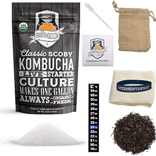 1-Gallon Kombucha Brewing Starter Kit   USDA Organic Kombucha SCOBY- Pellicle With 1.5 Cups Starter Tea   Organic Sugar   Organic Tea Blend  Thermometer   pH Strips   Breathable Cover and Rubber Band