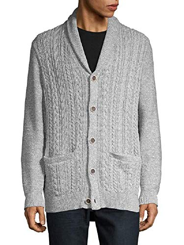 Tommy Bahama Ocean Bank Shawl Cardigan Cable Sweater (Color: Bala Shark, Size XL)