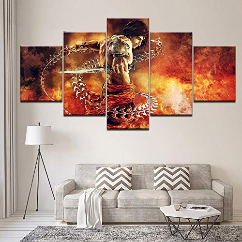 OCRTN Wall Art Stampato Immagini Modulari 5 Pezzi Prince of Persia The Two Thrones Poster Home Decor Canvas Painting Living Room-30x40 30x60 30x80cm Senza Cornice