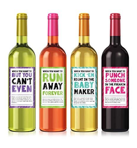 Cheer Up Wine Label Set - set of 4 - Exactly like Photo