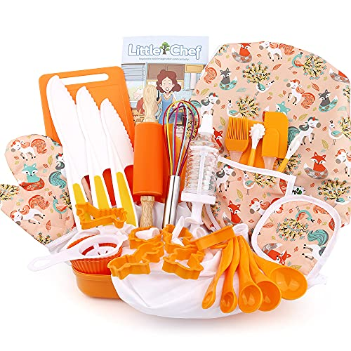 Veitch fairytales Kids Cooking and Baking Supplies Set 43 Pcs Includes Apron Hat Mitt and Utensils Dress Up Chef Costume Role Play Gifts for 3 4 5 6 7 8 Year Old Girls Boys