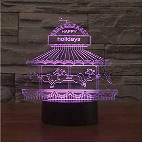 HLHHL-Lamp Lampe D'éConomie D'éNergie 3D Veilleuse/LED Carousel, 7 Couleurs, TéLéCommande/Tactile, Base Noire, CâBle USB, Chambre à Coucher, Bar, Bureau