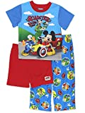 Mickey Mouse and The Roadster Racers Boys 3 Piece Shorts Pajamas Set (4T, Blue/Red)