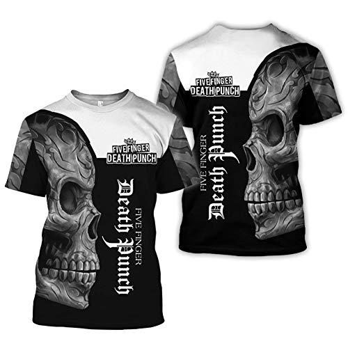 BBYOUTH Wikinger T-Shirt für Herren Sommer Kurzarm 3D Gedruckt Nordischer Mythos Damen Tattoo Cosplay Kurzarm (9 Grafik und 11 USA Größe),Five Finger Death Punch,M