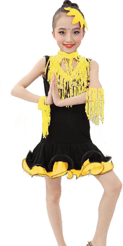 Byjia Kinder Latin Tanz Mdchen Kleidung Wettbewerb Kleid Pailletten Zeigen Performance Kostüme Studenten Gruppe Team